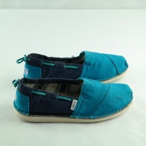 Toms Loafers Womens Sz 6 Blue Boat Shoes